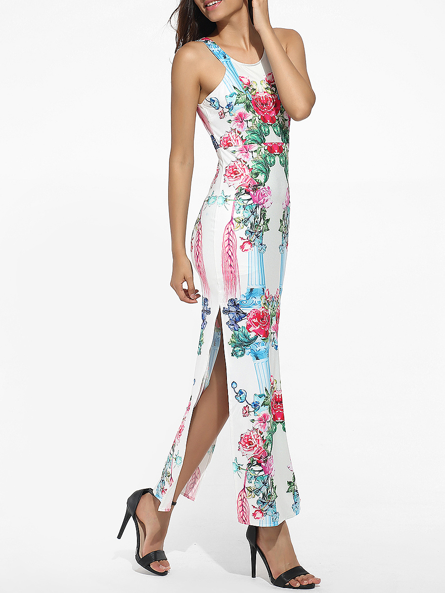 Round Neck Dacron Floral Printed Split Maxi-dress