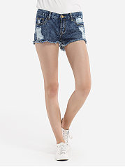 Broken Holes Rough Selvedge Denim Shorts