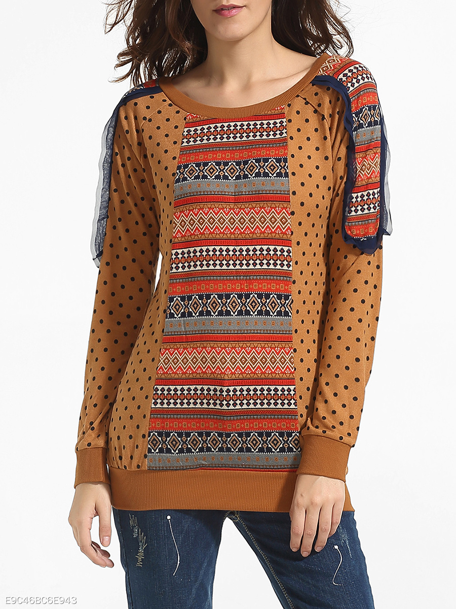 Round Neck Blended Assorted Colors Patchwork Printed Long-sleeve-t-shirt