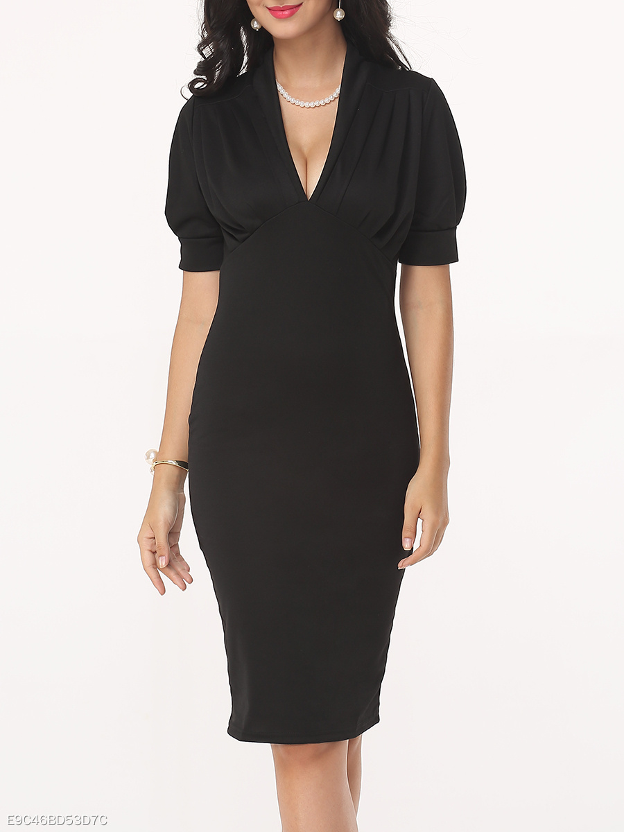 Plain Puff Sleeve Graceful V Neck Bodycon-dress