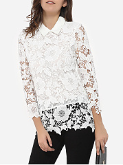 Autumn Spring  Lace  Women  Polo Collar  Lace  Long Sleeve Blouses