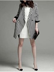 Compact Plaid Lapel Trench Coats