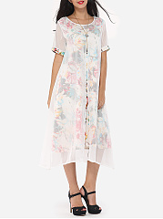 Floral Printed Chic Round Neck Maxi-dress