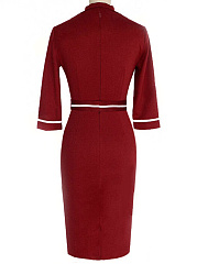 V-Neck Belt Contrast Piping Slit Bodycon Dress