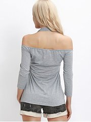 Autumn Spring  Polyester  Women  Halter  Plain Long Sleeve T-Shirts