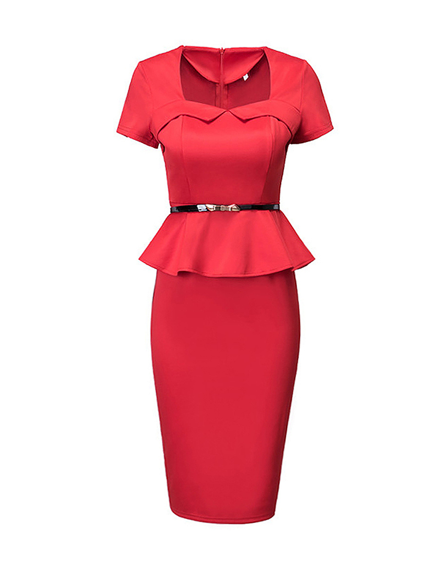 Sweet Heart Flounce Belt Split Plain Bodycon-dress