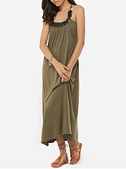 Loose Fitting Halter Dacron Plain Maxi-dress