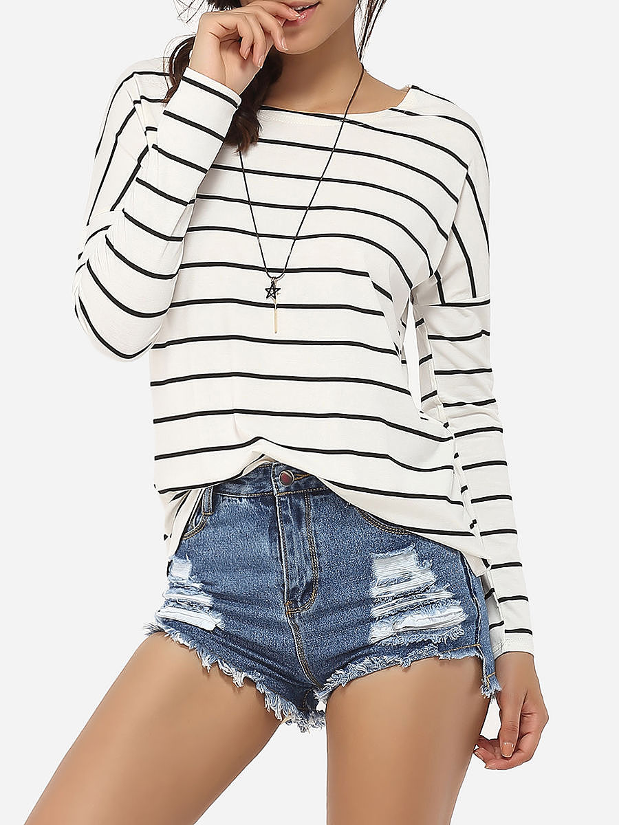Round Neck Cotton Striped Long-Sleeve-T-Shirt