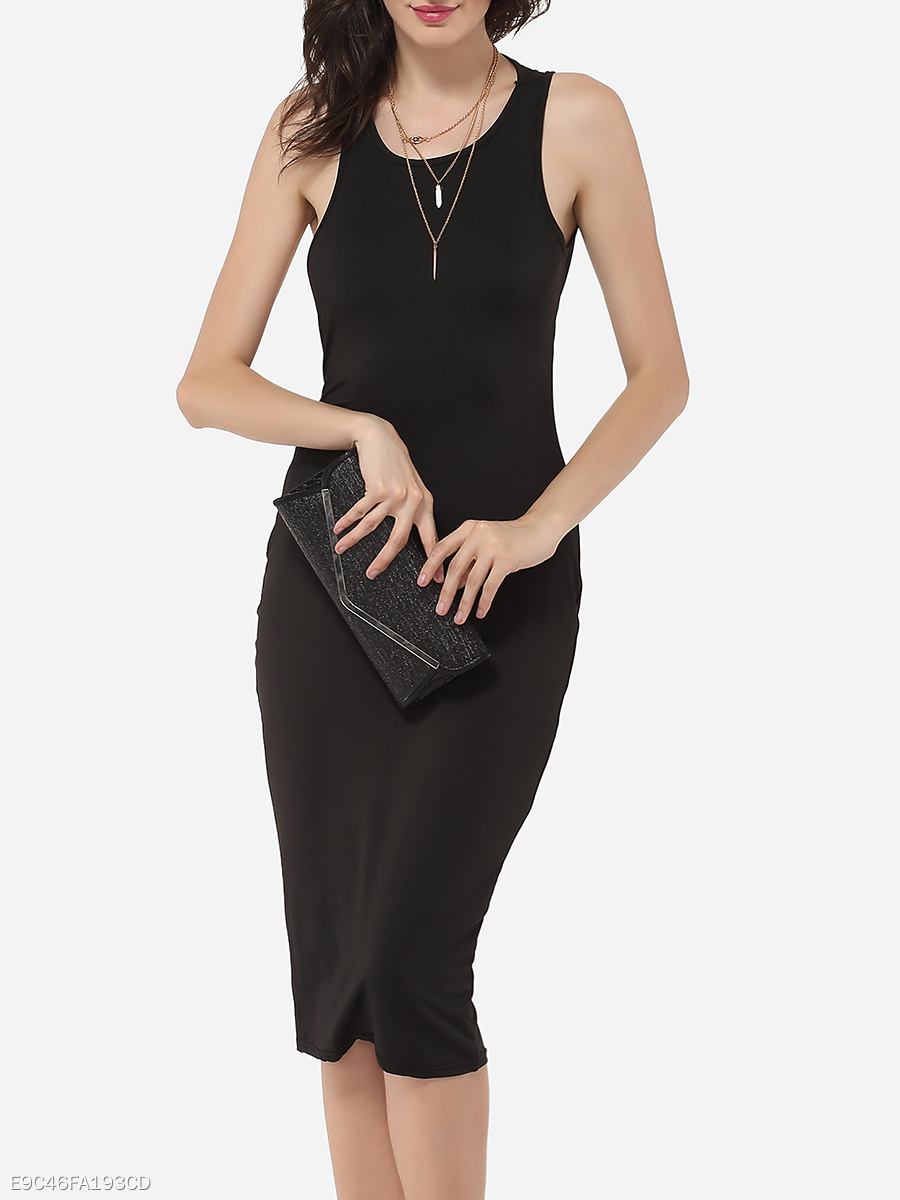 Round Neck Dacron Hollow Out Plain Bodycon Dress