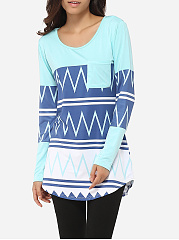 Pockets Round Neck Dacron Printed Long-sleeve-t-shirt