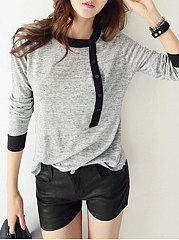 Color Block Patchwork Crew Neck Long Sleeve T-Shirts