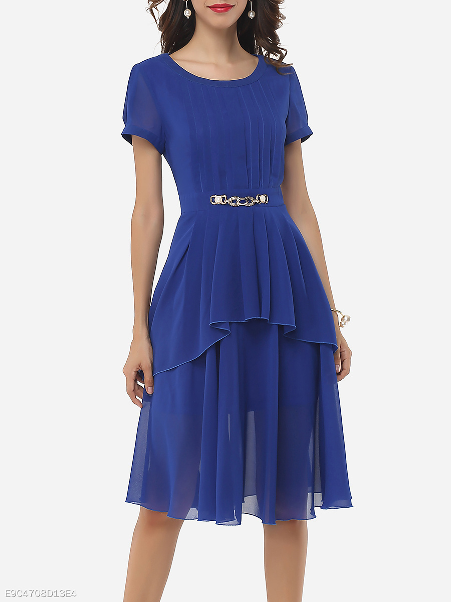 Plain Asymmetrical Hems Crew Neck Skater Dress