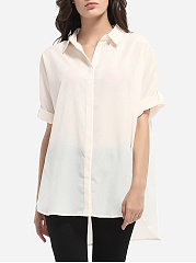 Single Breasted Button Down Collar Chiffon Plain Blouse