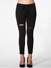 Plain Ripped Mid-Rise Legging