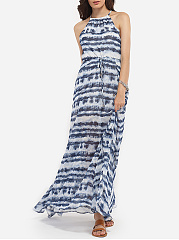 Loose Fitting Halter Dacron Gradient Printed Maxi-dress