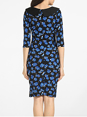 Round Neck Dacron Floral Printed Bodycon-dress
