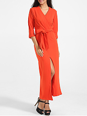Bowknot V Neck Dacron Plain Split Maxi-dress
