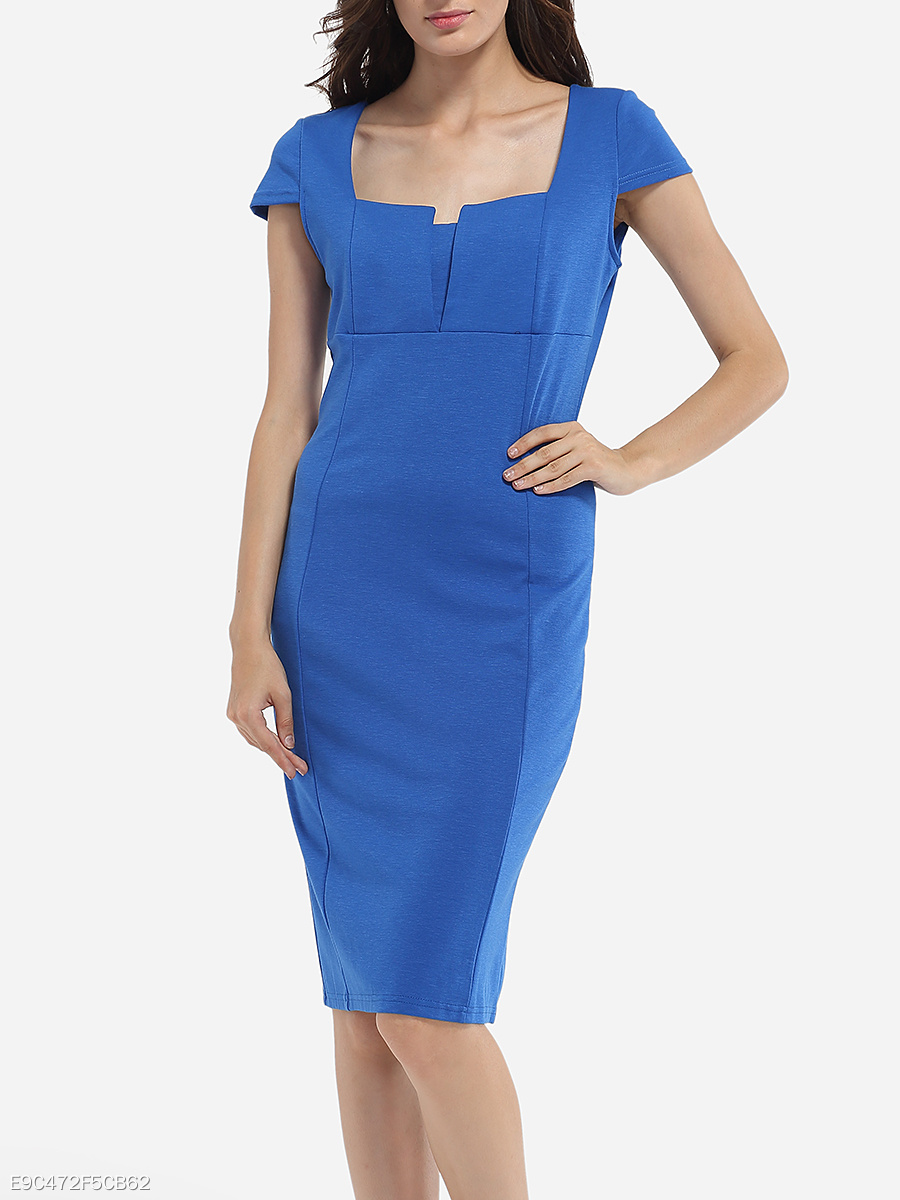 Asymmetric Neckline Dacron Plain Bodycon-dress