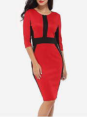 Zips Round Neck Dacron Color Block Bodycon-dress