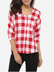 Loose Fitting Pockets Single Breasted V Neck Cotton Plaid Blouse