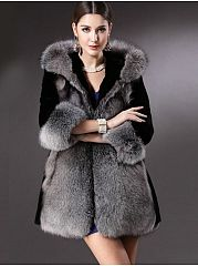 Faux Fur Patchwork Designed Overcoats