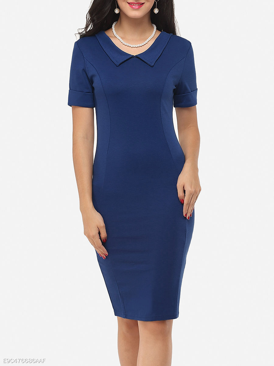 Plain Charming Polo Collar Bodycon-Dress