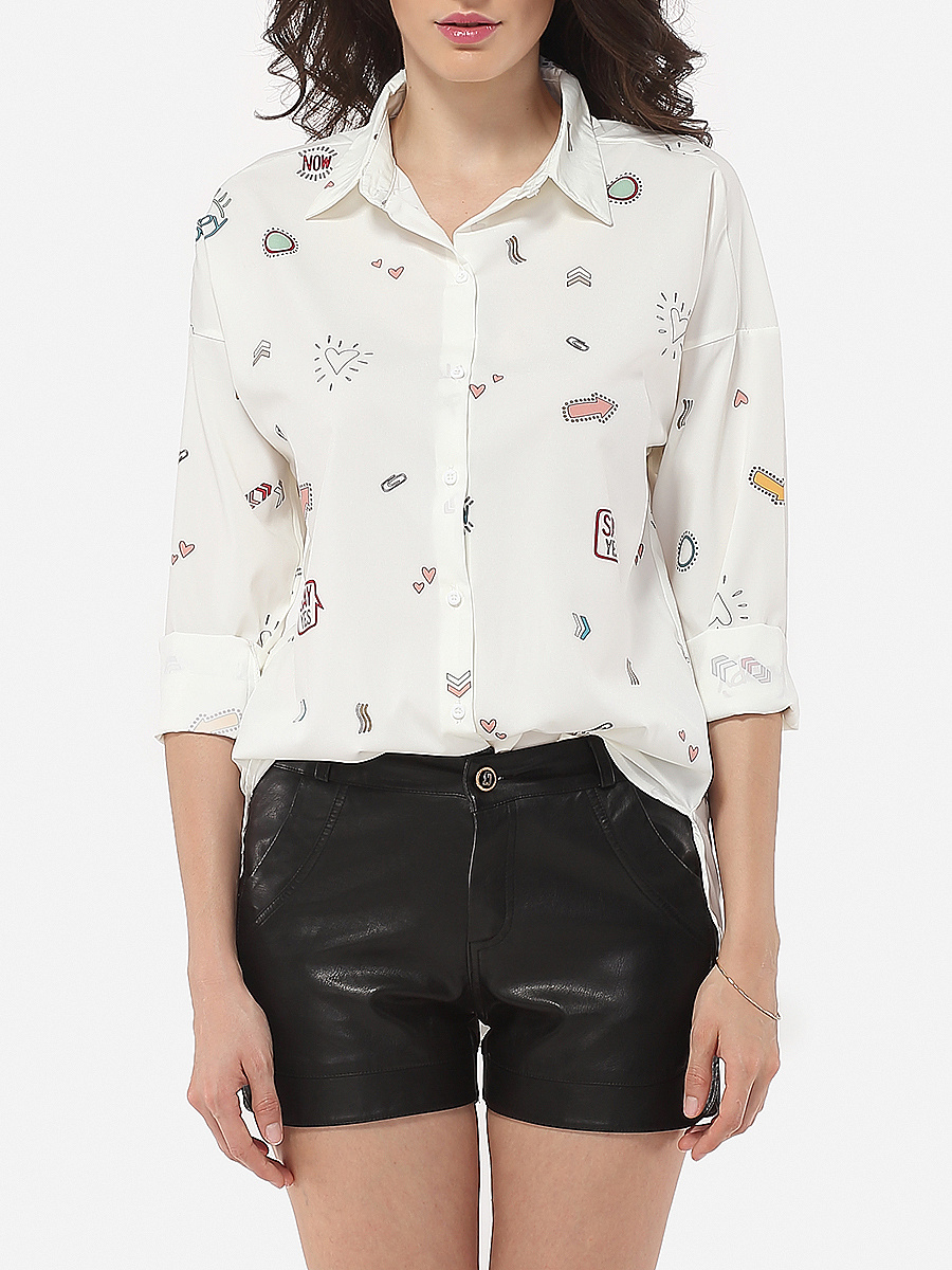 Polo Collar Printed Blouse