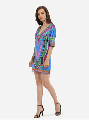 V Neck Dacron Assorted Colors Plain Tribal Bodycon Dress