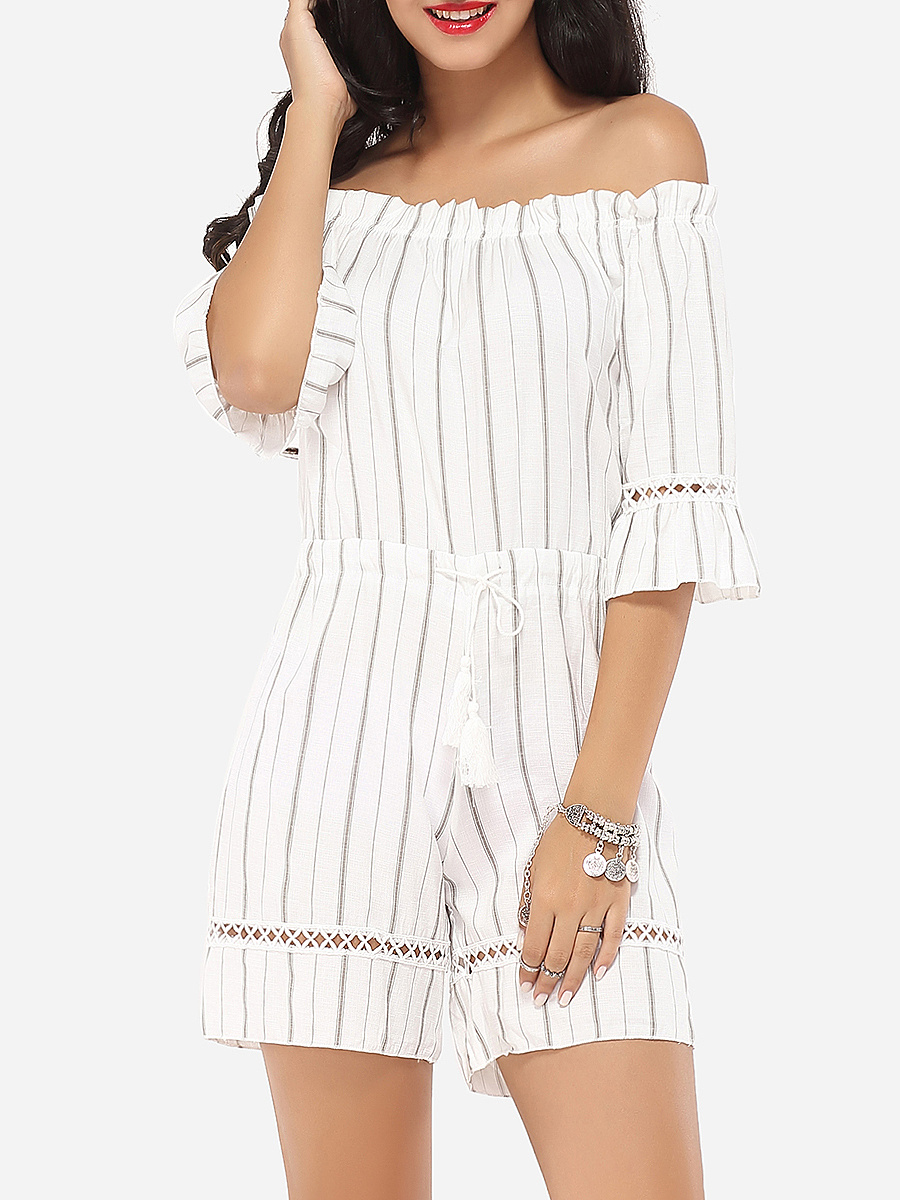 Embossed Design Dacron Striped Rompers