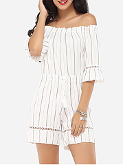 Embossed-Design-Dacron-Striped-Rompers