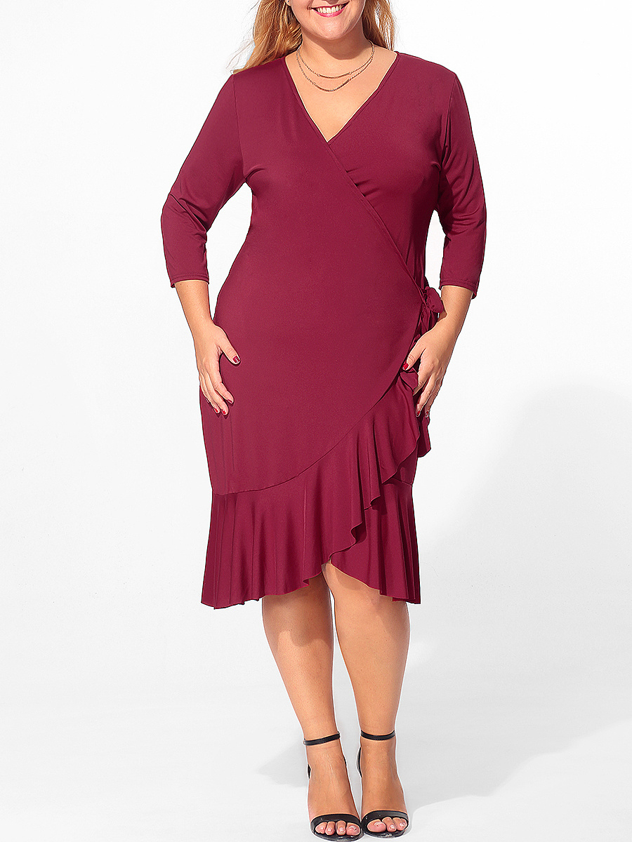 V Neck Flounce Bowknot Plain Plus Size Bodycon Dress