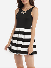 Zips Round Neck Dacron Printed Striped Skater-dress