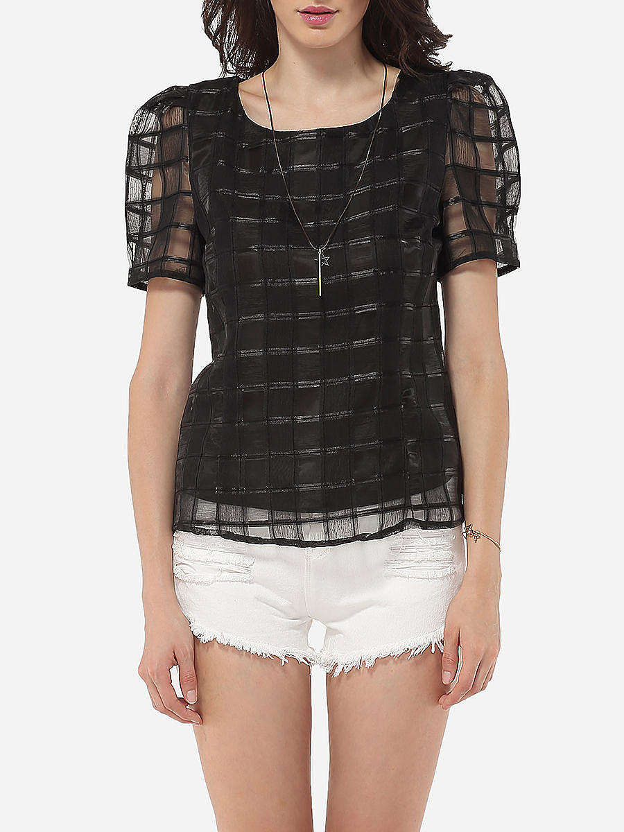 Round Neck See-Through Plaid Blouse