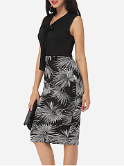 Printed Bowknot Graceful V Neck Bodycon-dress