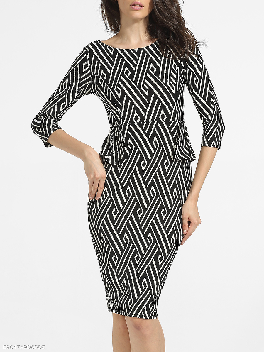 Boat Neck Dacron Printed Striped Bodycon-dress