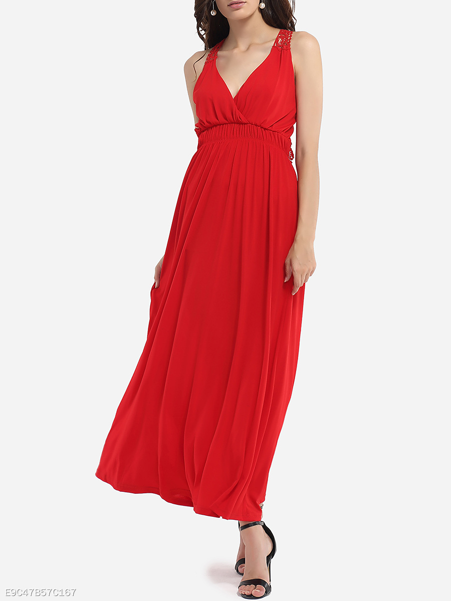 Surplice Dacron Hollow Out Lace Plain Maxi-dress