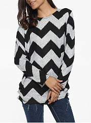 Loose Fitting Zigzag Striped Long Sleeve T-Shirt