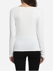 Surplice Cotton Plain Long-sleeve-t-shirt