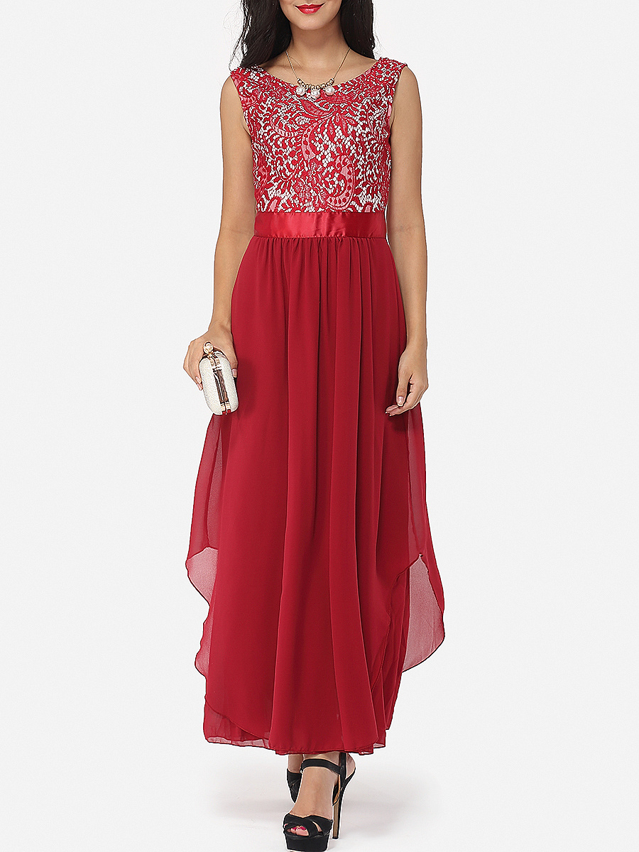 Lace Plain Exquisite Round Neck Maxi Dress