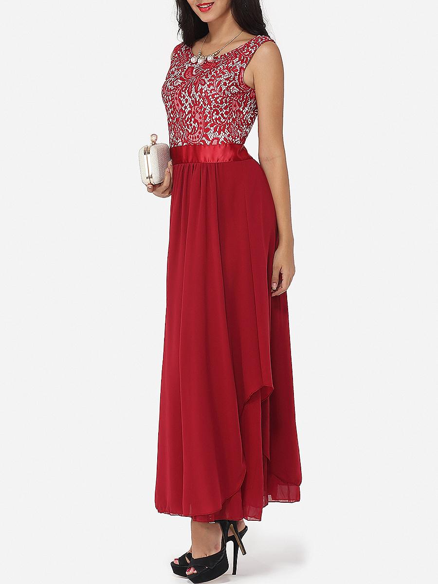 Lace Plain Exquisite Round Neck Maxi Dress