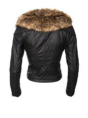 Fur Collar With Zips Attractive Imitation Leather Overcoats