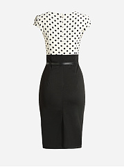 Round Neck Dacron Patchwork Polka Dot Bodycon Dress