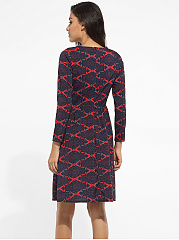 Round Neck Dacron Geometric Printed Skater-dress