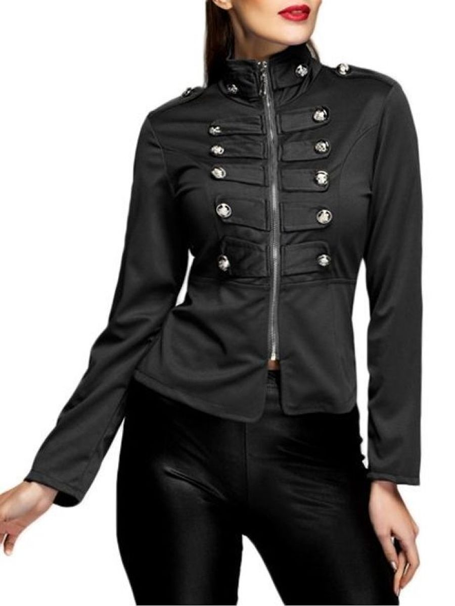 Plain 4 Colors Decorative Buttons Classical Band Collar Jackets