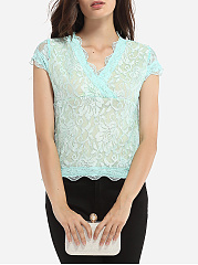 V Neck Lace Lace Plain Short-sleeve-t-shirt
