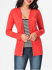 Collarless Single Breasted Plain Cardigan