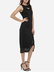 Asymmetrical Hems Round Neck Dacron Hollow Out Lace Plain Bodycon Dress