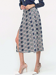 Assorted Colors Floral Printed Printed Side Split Loose Fitting Fancy Midi-skirt