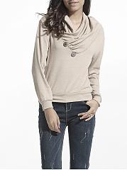 Diagonal-Buttons-Cowl-Neck-Cotton-Plain-Sweatshirt