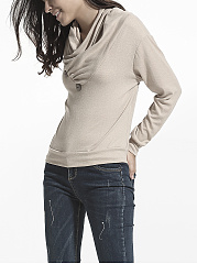 Diagonal Buttons Cowl Neck Cotton Plain Sweatshirt